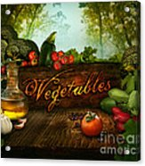 Food Design - Fresh Vegetables In Celery Forest Acrylic Print by Mythja  Photography