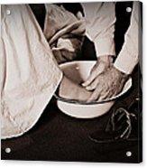 Foot Washing Acrylic Print by Stephanie Grooms