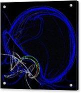 Football Helmet Blue Fractal Art Acrylic Print