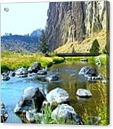 Footbridge At Smith Rock Acrylic Print