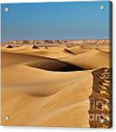 Footprints And 4x4 Offroad Car In Landscape Of Endless Dunes In Sand Desert  Acrylic Print