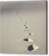 Footprints In Desert Sand Acrylic Print by Ron Sanford