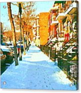 Footprints In The Snow Montreal Winter Street Scene Paintings Verdun Christmas  Memories  Acrylic Print