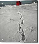 Footprints Leading From The Lighthouse Big Red During Winter Acrylic Print