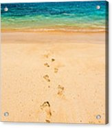 Footprints Leading To Paradise Acrylic Print