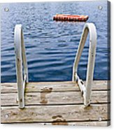 Footprints On Dock At Summer Lake Acrylic Print