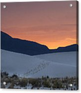 Footsteps In White Sands Leading To Sunset Acrylic Print