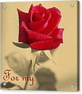 For My Love Vintage Valentine Greeting Card  Acrylic Print