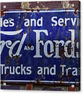 Ford And Fordson Sign Acrylic Print