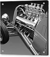Ford Coupe Hot Rod Engine In Black And White Acrylic Print
