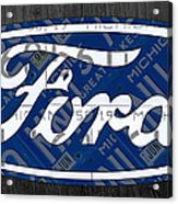 Ford Motor Company Retro Logo License Plate Art Acrylic Print