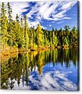 Forest And Sky Reflecting In Lake Acrylic Print