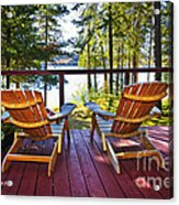 Forest Cottage Deck And Chairs Acrylic Print
