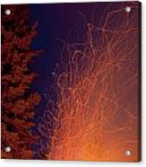 Forest Fire Danger Hot Spark Trails From Campfire Acrylic Print
