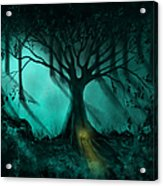 Forest Light Ethereal Fantasy Landscape  Acrylic Print