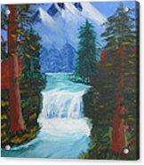 Forest Waterfall Acrylic Print by Haleema Nuredeen