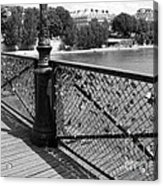 Forever Love In Paris - Black And White Acrylic Print