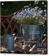 Forget-me-nots And Small Watering Can  Acrylic Print