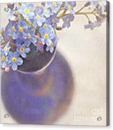 Forget Me Nots In Blue Vase Acrylic Print