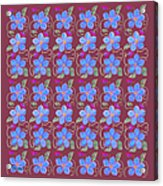 Forgetmenot Pattern On Marsala In Square Acrylic Print