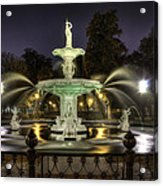 Forsyth Fountain At Night Acrylic Print