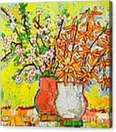 Forsythia And Cherry Blossoms Spring Flowers Acrylic Print
