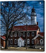 Fort Gratiot Lighthouse And Buildings With Clouds Acrylic Print