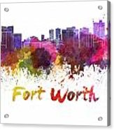 Fort Worth Skyline In Watercolor Acrylic Print