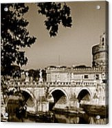 Fortress And Bridge In Sepia Acrylic Print
