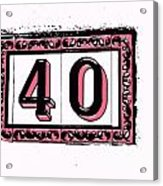 Forty Pink And Black Acrylic Print