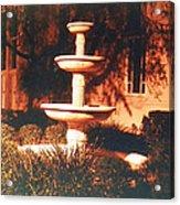 Church Fountain Night Shadows Acrylic Print