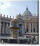 Fountain And St. Peters - Vatican City Acrylic Print
