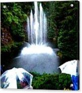 Fountain And Umbrellas Acrylic Print