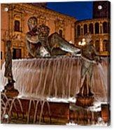 Fountain By Night Acrylic Print