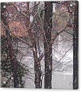 Fountain During Snowfall Acrylic Print