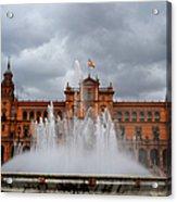 Fountain On Plaza De Espana. Seville Acrylic Print by Jenny Rainbow