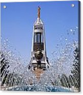Fountains And The Arch Of Neutrality At Ashgabat In Turkmenistan Acrylic Print