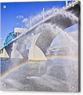 Fountains And The Market Street Bridge Acrylic Print by Tom and Pat Cory