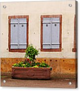 Four Pale Blue Shutters In Alsace France Acrylic Print
