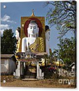 four sitting Buddhas 30 metres high looking in four points of the compass at Kyaikpun Pagoda Acrylic Print