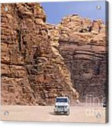 Four Wheel Drive Vehicles At Wadi Rum Jordan Acrylic Print