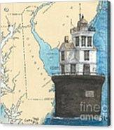 Fourteen Ft Bank Lighthouse De Nautical Chart Map Art Acrylic Print