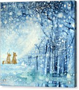 Foxes In The Snow Acrylic Print