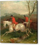 Foxhunting Coming To A Fence Full Cry Signed And Dated Acrylic Print