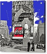 Fr. Duffy Statue Prior To Unveiling Coca Cola Sign Times Square New York City 1937-2014 Acrylic Print