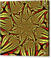 Fractal Golden And Red Acrylic Print
