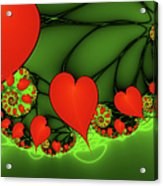 Fractal Hearts In The Discothec Acrylic Print