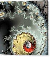 Fractal Spiral Design Grey Khaki Red Acrylic Print