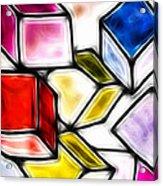 Fractalius Cubes Acrylic Print by Sharon Lisa Clarke