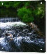 Fractalius - River Wye Waterfall - In Peak District - England Acrylic Print